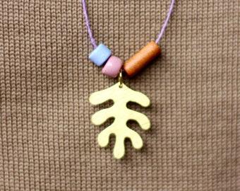 Matisse Lilac • Brass Leaf • Long Statement Necklace