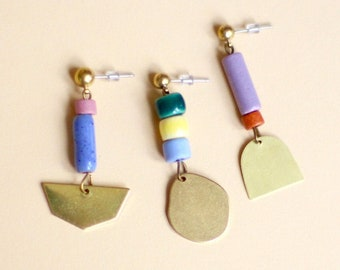 OHRRINGE • Shapes • Brass earrings with ceramic elements • various brass shapes