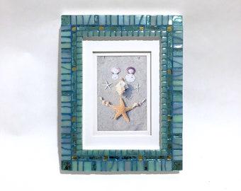 AQUA MOSAIC FRAME, Aquamarine Picture Frame, Wedding Gift, 5 x 7 Mosaic Photo Frame, New Home Gift, Decorative Frame, Hamptons Style