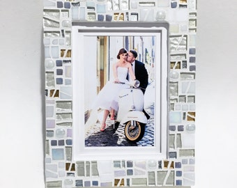 Mosaic Picture Frame, 50th Anniversary Frame, Golden Anniversary Wedding Gift Frame, 5x7, 8x10 Frame, Mosaic Frame, Gift for Parents