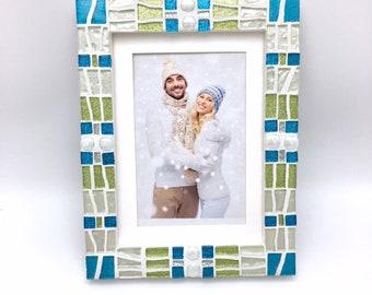 Glittering Mosaic Picture Frame, 5x7 Picture Frame, Holiday Picture Frame Idea, Decorative Frame, Turquoise Lime Decor, Coastal Beach Decor