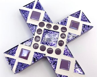 Mosaic Wall Cross, Purple Lilac Cross, Gift for Goddaughter,  Baptism Christening, FIrst Communion, Decorative Christian Keepsake