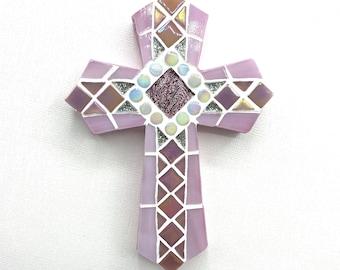 First Communion Gift for Girls, Pink Mosaic Cross, Baptism Gift, Decorative Cross, Baptism Cross Keepsake
