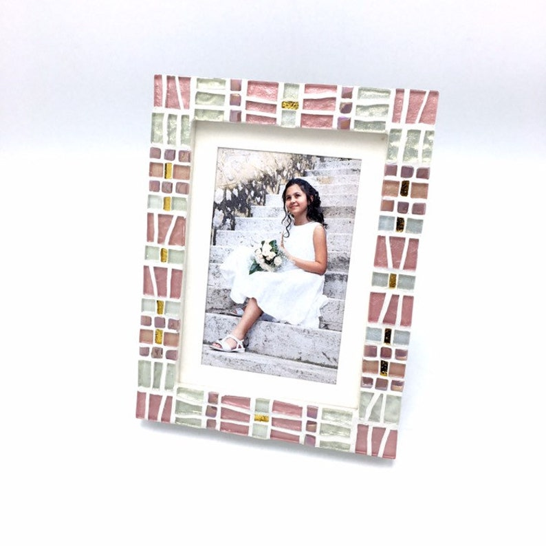 Blush Pink with Gold Mosaic Picture Frame Pink Home Accents 5x7 Picture Frame Mosaic Photo Frame Birthday Gift For Her