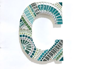 Mosaic Initial Gift for New Home, Decorativel Letter, Aqua Teal Gray, Gallery Wall Decor, Custom Mosaic Letter Art, Color Home Accent