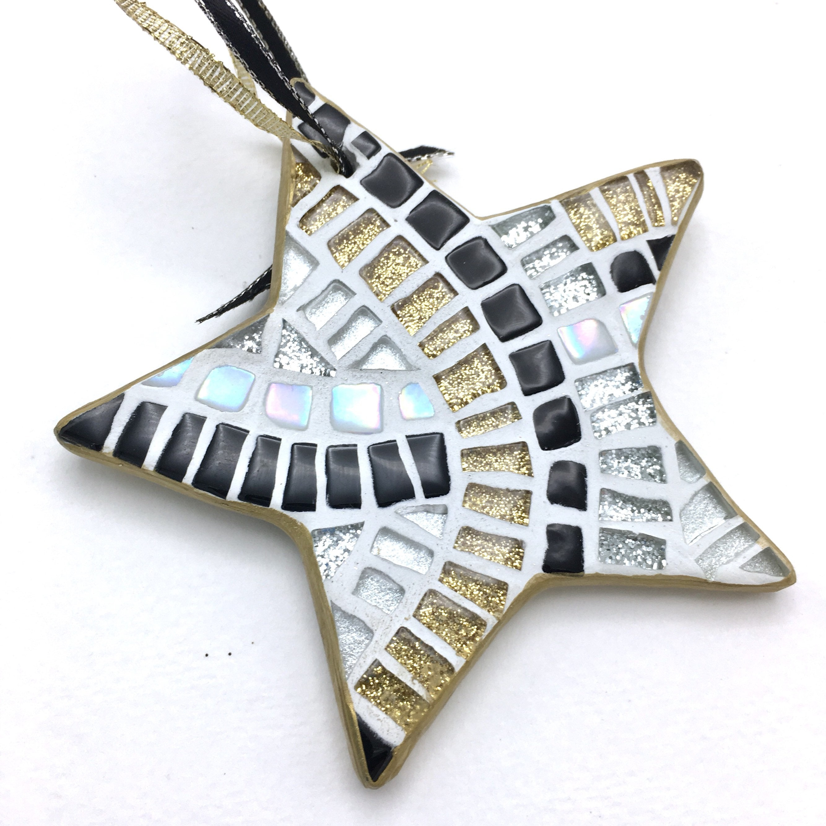 Black And Gold Mosaic Star Ornament Glam Christmas Tree Etsy