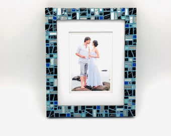 8x10 Photo Frame, Unique Mosaic Picture Frame, Teal Blue Black Photo Frame, Decorative Mosaic Picture Frame, Handmade Decor, Wedding GIft