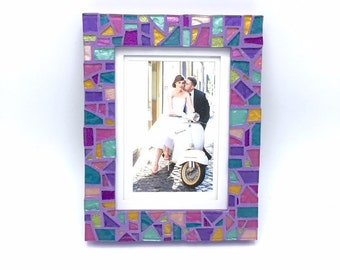 Unique Picture Frame, Colorful Purple Mosaic Photo Frame, 5x7 Decorative Frame, Special Gift for Birthday, Anniversary or Wedding