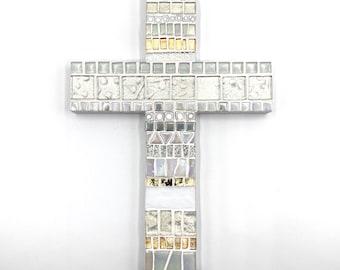 "9"" x 6"" White Iridescent Mosaic Wall Cross, Baptism Gift, New Home Christian Home Keepsake, First Communion Gift"
