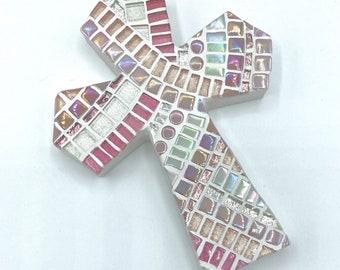 Girls Baptism Gift, Pink Mosaic Cross, Decorative Cross, Baptism Cross Keepsake, First Communion Gift Girl
