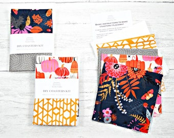 DIY kit, Sew it yourself, sew your own coasters, pumpkin, Halloween coasters, Halloween placemat, fabric coaster, hostess gift, fall decor