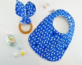 Easter Bibs, Baby Bibs, bunnies, rabbit, easter, easter gift, easter basket, drool bib, feeding bib, Triple layered fits 3 months to 2 yrs