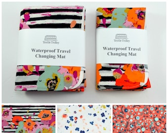 Changing mat, pad, travel, diaper changing, nappy, travel changing mat, waterproof changing mat, baby, baby girl, floral, flowers, peach,