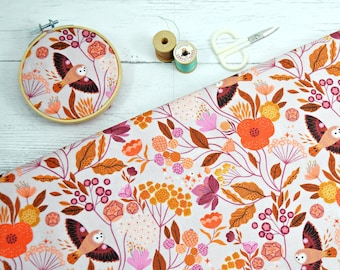 Wild by Bethan Janine, Dashwood studios, Purple fabric, owl and leaves fabric, 1/2 yard cut, quilting cotton by the yard, woodland animals