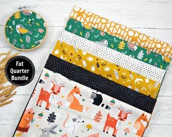 Woodland Curated fat quarter bundle, woodland animal fat quarters, quilting fabric, woodland quilt, yellow green black and white fabric,