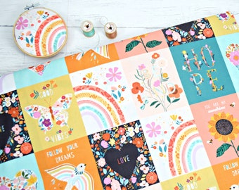 Good Vibes by Bethan Janine for Dashwood studios, white swallows carrying LOVE and HOPE banners, yellow fabric, quilting cotton by half yard