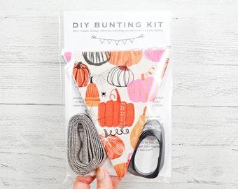 DIY bunting kit, fall bunting, Halloween bunting, sewing kit, fabric bunting kit, flag kit, pennant kit, sew it yourself, decorative flags