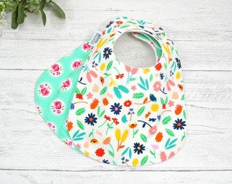 Baby Bibs, Flower Bibs, floral bibs, modern flowers, absorbent bibs, bibs for girls, spring bib, garden party bib, cotton bib, gift under 30