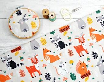 Acorn Wood by Wendy Kendall, Dashwood studios, woodland animal fabric, 1/2 yard cut, quilting cotton by the yard, forest friends fabric, fox