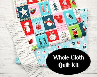 Whole cloth quilt kit, Christmas quilt kit, sew it yourself, Woodland animals quilt kit, unique baby gift, new baby gift, Christmas gift