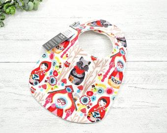 Little Red Riding Hood baby gift, baby bib, Fairy Tale gift, wolf, newborn gift, handmade baby shower gift, gift under 20, first food bib,