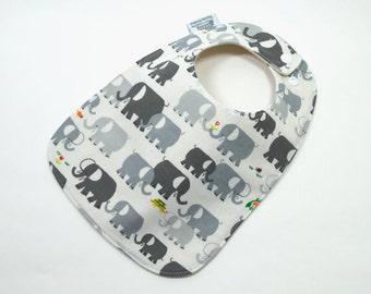 Organic baby bib, Elephant baby, Elephant, Grey, Organic cotton, organic fleece, Gender neutral baby, fits 3 months to 2 years plus