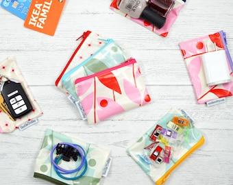 Coin purse, runner purse, tiny zip bag, small zippered pouch, laminated waterproof bag, stocking stuffer, gift card holder waterproof wallet