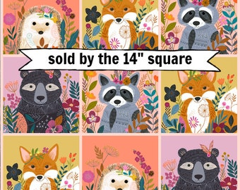 """Wild by Bethan Janine, Dashwood studio, sold by the 14"""" square, woodland animal fabric, bear, racoon, fox, hedgehog, quilting cotton"""