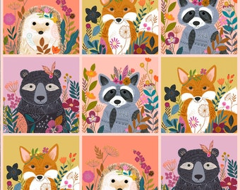 Wild by Bethan Janine, Dashwood studio, sold by the panel, woodland animal fabric, bear, racoon, fox, hedgehog, quilting cotton, cute fabric
