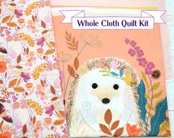 Whole cloth quilt kit, quilt kit, sew it yourself, Woodland animal, pink quilt, unique baby gift, new baby gift, ooak gift, gift for quilter