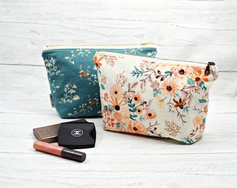 Large makeup bag, floral cosmetic bag, diaper clutch, Toiletry bag, wash bag, wet bag, zipper pouch, large cosmetic case, make up bags
