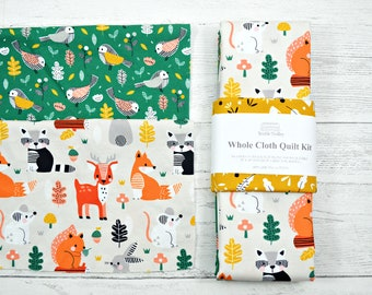 Whole cloth quilt kit, quilt kit, sew it yourself, Woodland animals quilt kit, unique baby gift, new baby gift, ooak gift, gift for quilter
