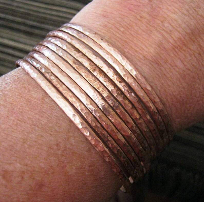 Copper bangles. African copper bangle set. 2mm bangles. Narrow image 0