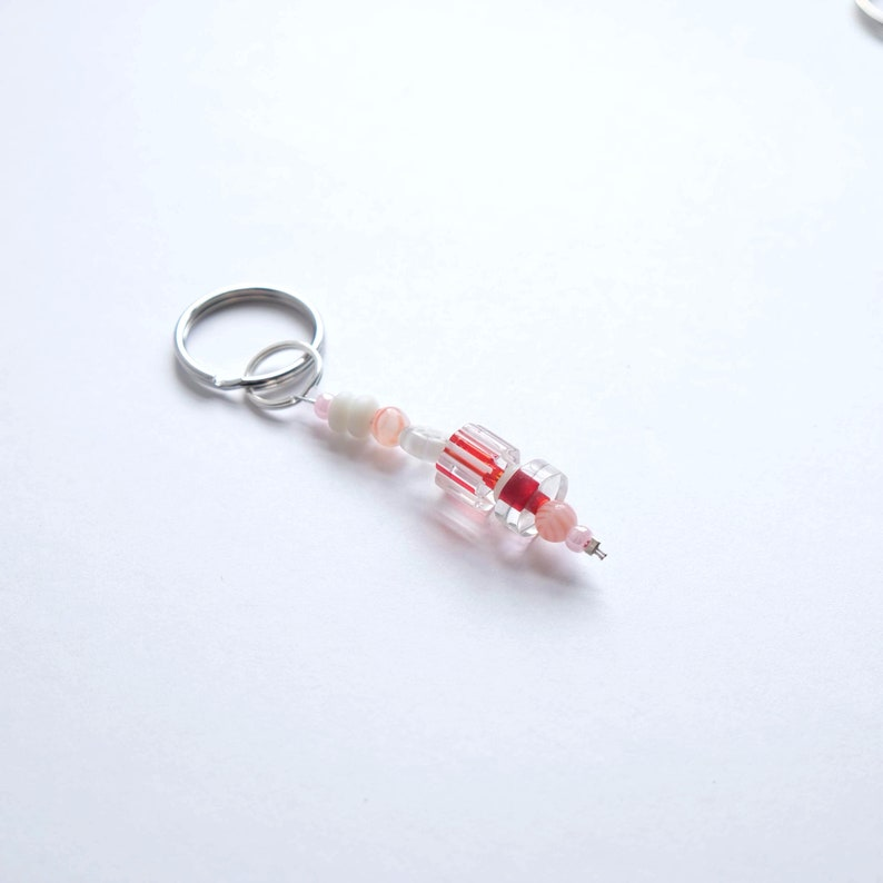 Candy Themed Red and White Beaded Keychain Metallic Pink Clear Glass