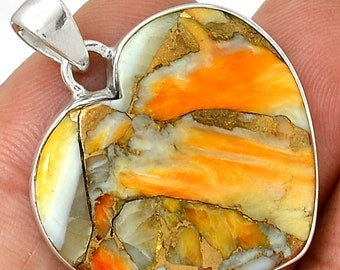 Spiny Oyster Pendant  Heart Pendant Necklace  925 Sterling Silver Southwestern Jewelry P229