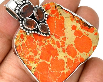 Sea Sediment Pendant Sea Sediment Jasper Necklace Garnet Gemstones  925 Sterling Silver  Boho Jewelry P104