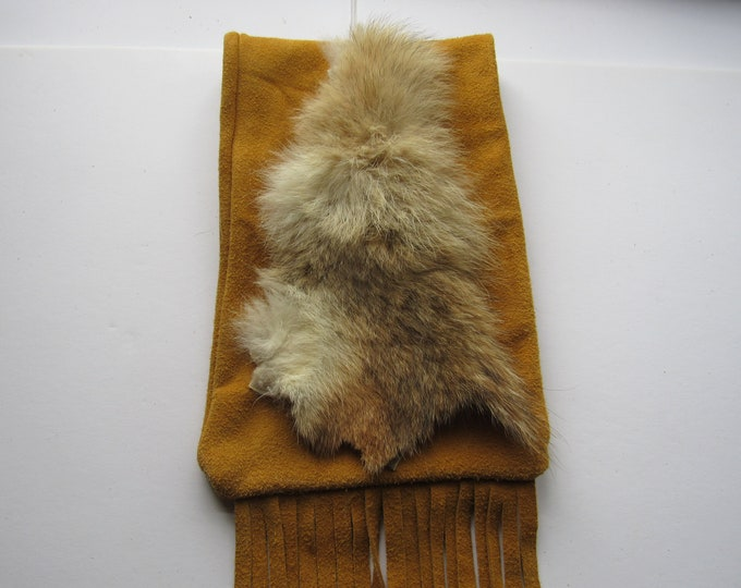 Possibles Pouch Belt Bag Coyote Fur  Leather Rendezvous Long Hunter Mountain Man