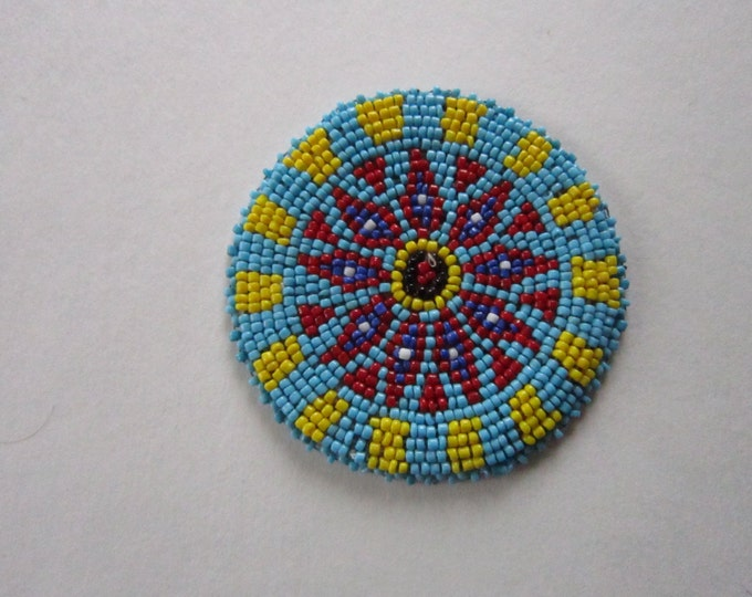 "3"" Glass Beaded  Rosette Medallion Tribal Regalia Beadwork Leather Craft Regalia 10B"