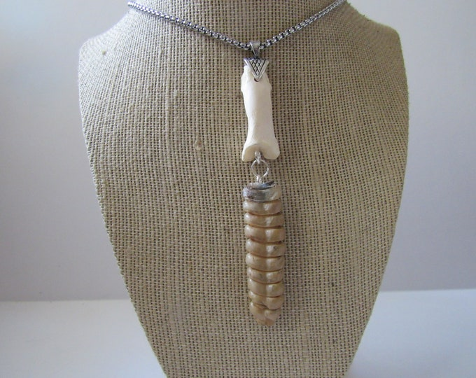 Rattlesnake Rattler Tail Bone Pendant Spirit Animal Bone Necklace Jewelry Statement Necklace N929