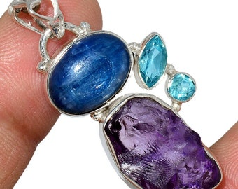 Rough Amethyst Pendant Blue Kyanite Necklace  Sterling Silver Crystal Boho Jewelry P539