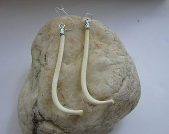 Raccoon Penis Bone Earrings Dangle The Love Bone Boho Jewelry Burning Man Baculum Animal Bone Jewelry