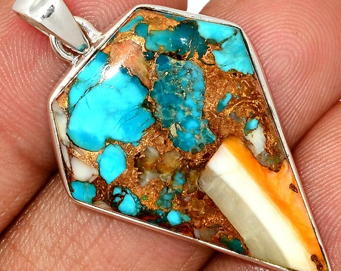 Spiny Oyster Pendant Necklace Turquoise Pendant  925 Sterling Silver Southwestern Jewelry P464