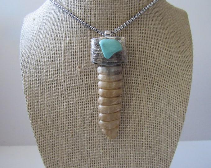 Rattlesnake Rattler Pendant Snake Necklace Turquoise Necklace Spirit Animal Bone Jewelry Boho N927