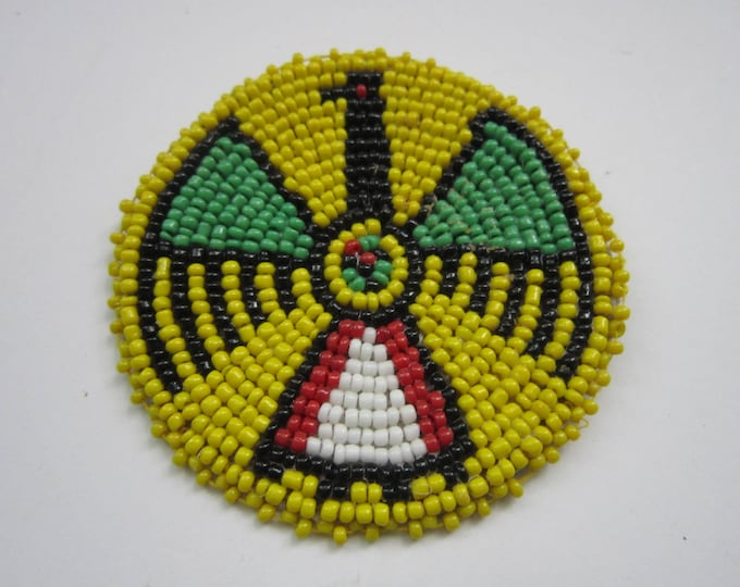 "3"" Glass Beaded Thunderbird Rosette Medallion Tribal Regalia Bead work Leather Craft Regalia 9B"