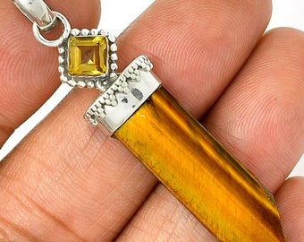 Tiger's Eye  Pendant Citrine Necklace 925 SS  Healing Crystal Boho Jewelry P277