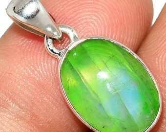 Green Moonstone Pendant Necklace 925 SS Healing Crystal Boho Jewelry P561