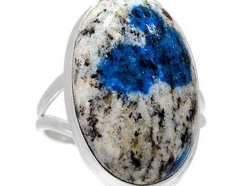Azurite Quartz Crystal Ring 925 Sterling Silver SZ 7  Crystal Boho Jewelry R2