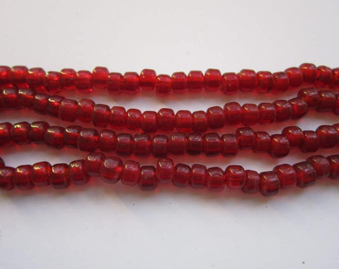 Glass Crow Pony Beads 9mm x 6mm TRANSLUCENT RED 100 per strand Jewelry/Craft Projects