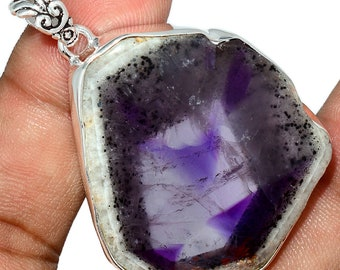 Super Amethyst Pendant Amethyst 23 Necklace  Sterling Silver Crystal Boho Leather Jewelry P406