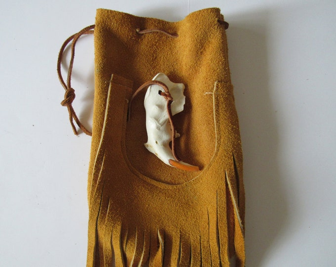X-Large Possibles  Half Moon Drawstring Leather Bag w/ Beaver Jaw Bone Rendezvous  Mountain Medicine Man